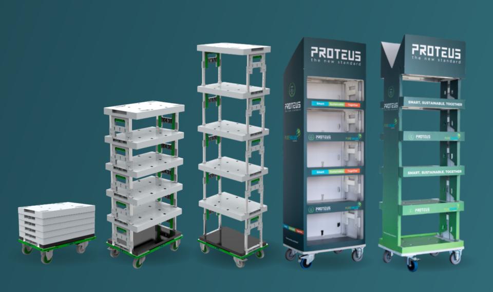 Proteus display in verschillende standen opgebouwd